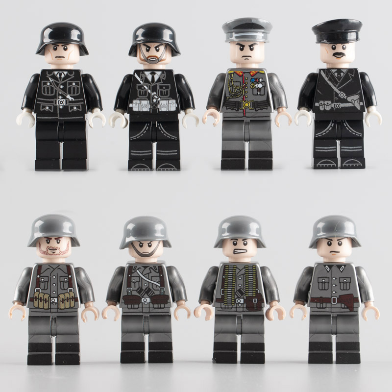 8PCS WW2 Military German Army Soldiers Figures Building Blocks Weapons Parts Accessories Brick Children Toys