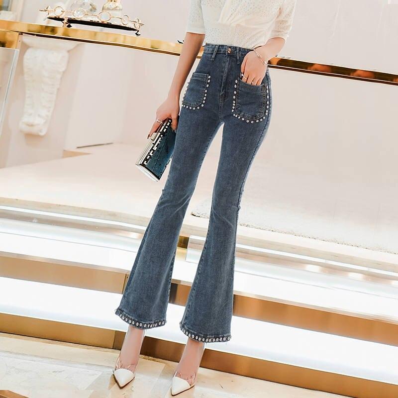 Taille haute Jeans pour Femmes Vintage Perles Poches Denim Flare Jeans Diamant Nouvelle Arrivée Femmes Mince Neuf Denim Pantalon DS50597