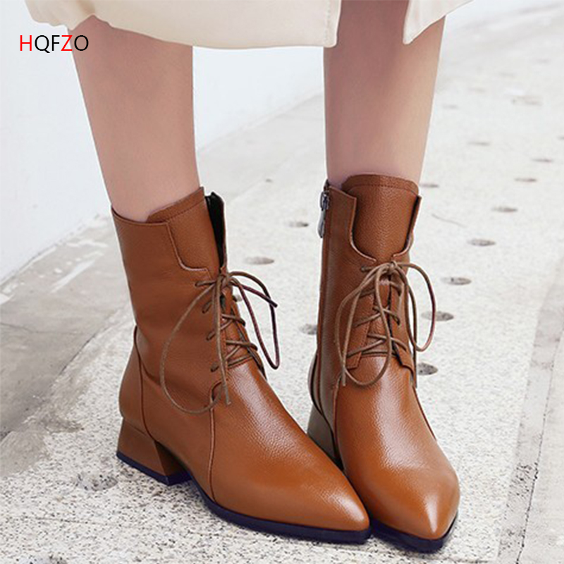 HOFZO Brand Fashion PU Leather Boots For Women Platform Pointed Toe Lace-up  Boots Autumn Women Boots Black Shoes 35-40HOFZO Brand Fashion PU Leather Boots For Women Platform Pointed Toe Lace-up  Boots Autumn Women Boots Black Shoes 35-40