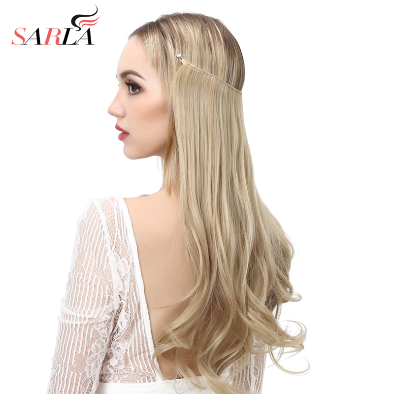 """14"""" 16"""" 18"""" 120g Wave Halo Hair Extensions Invisible Ombre Bayalage Synthetic Natural Flip Hidden Secret Wire Crown Grey Pink 4"""
