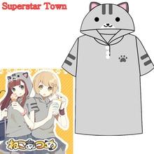 Summer Style Women Tops Anime Kawaii Cat Shirt Neko Atsume School Clothes Kawaii Mori Girl Tee Roupas Superstar Town
