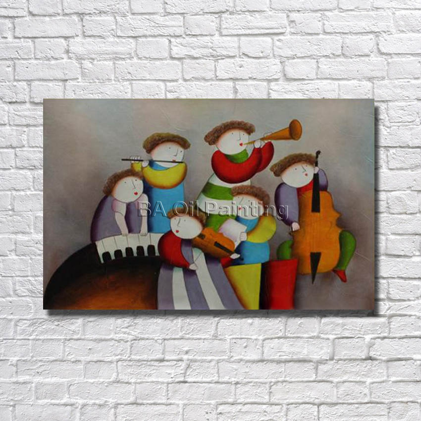 Large Free Shipping 100% Handmade High Quality Chidren Play Music Oil Painting Hang Picture for Home Decor Nice Gifrs No Framed