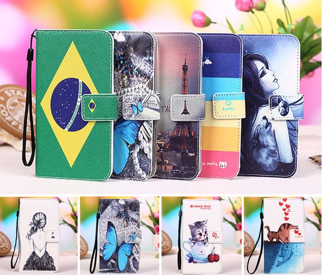 New Fashion Style Cartoon Painting Case PU Leather Flip cover Case for ZTE Leo Q1 V765M, Lanyard Gift +Tracking
