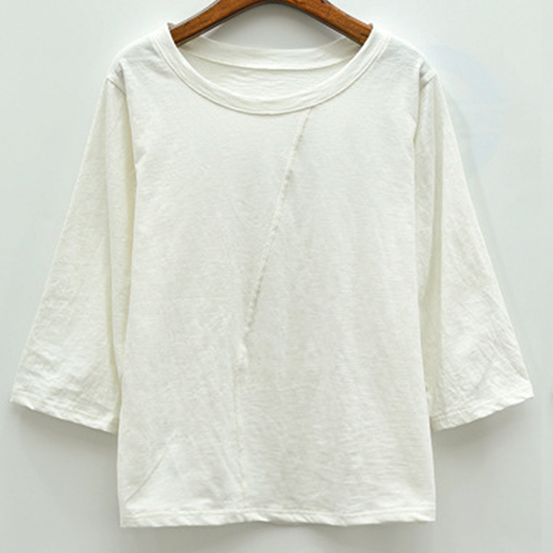 Shirts 95 cotton crop sleeve white tshirt women loose for Casual white t shirt