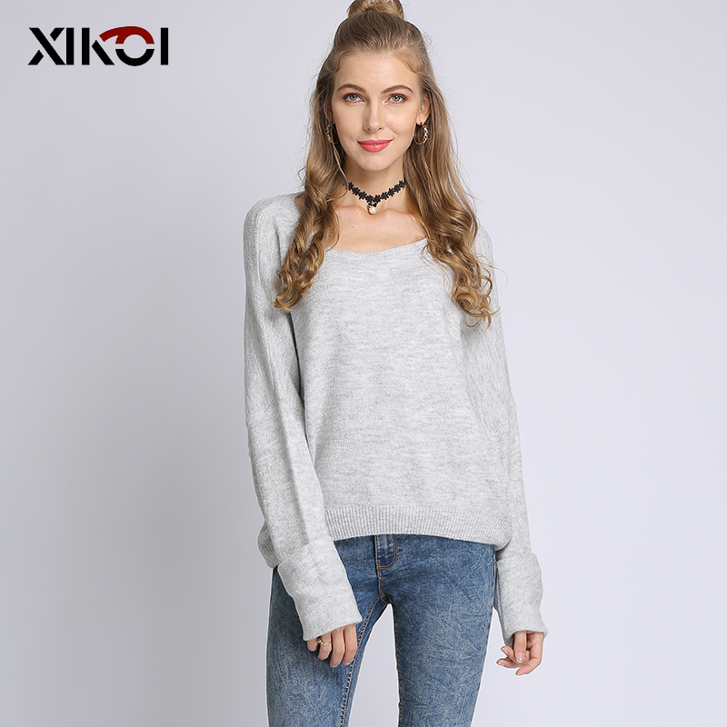 XIKOI  2019  New  womens tops and blouses  Regular  Solid   Casual  O-Neck  Full  Pullovers  Autumn  Winter  Sweater  Women Tops