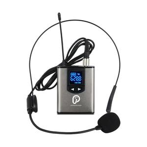 "Image 2 - UHF אלחוטי מערכת עם אוזניות מיקרופון/Lavalier דש מיקרופון, כפולה משדרי Bodypack אחד מיני נטענת מקלט 1/4 ""פלט"