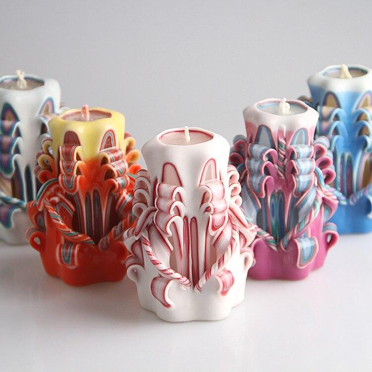 Decoración de boda romántica de lujo tallado velas con LED vela de cumpleaños boda 8 pulgadas