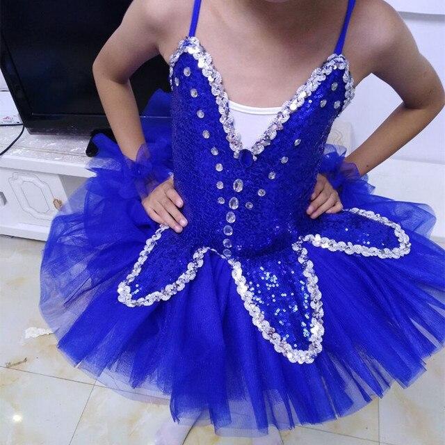 eef0fb311 Ballerina Girls Princess Dress Sequins Pancake Ballet Tutu Kids Swan ...