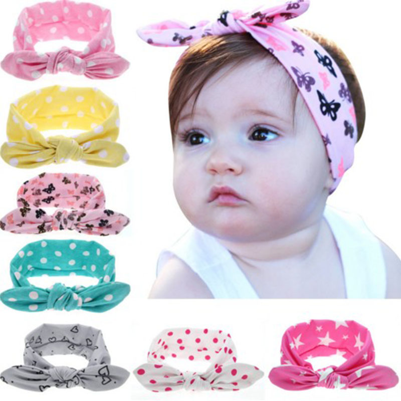 JRFSD 1PCS 2017 Fashion Dot Knot Headband Newborn Elastic Hair Bands kids Hair Accessories metting joura vintage bohemian green mixed color flower satin cross ethnic fabric elastic turban headband hair accessories