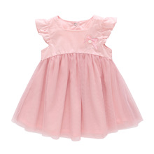 2019 New Baby Girls Pink Princess Dress Summer Sweet Cute Bow Mesh Dress Newborn Baby Girls Lace Christening Gown Birthday Dress new cute white lace pink fluffy tulle baby girls birthday party gown ankle length with big bow 2018 flower girl dress any size
