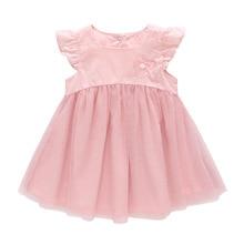цены 2019 New Baby Girls Pink Princess Dress Summer Sweet Cute Bow Mesh Dress Newborn Baby Girls Lace Christening Gown Birthday Dress