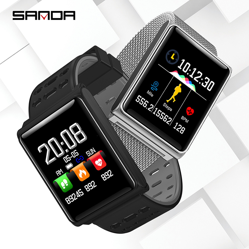 Genteel Sanda Silicone & Mesh Smart Watch N98 Ip67 Waterproof Heart Rate Monitor Blood Pressure Men Women Smartwatch For Ios Android Men's Watches