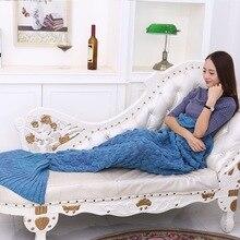 Русалка плед одеяло «хвост русалки» флис бросить плюшевый плед на диван-кровать пушистый покрывало вязать Русалка одеяло