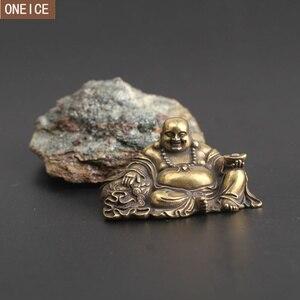 antique bronze casting bronze Buddha statue Maitreya Buddha laughing Buddha statue mini home Feng Shui jewelry Miniature model(China)