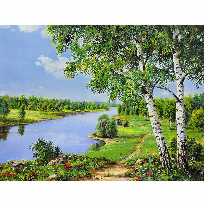 CHUNXIA Framed DIY Painting By Numbers Landscape Acrylic Painting Modern Picture Home Decor For Living Room 40x50cm RA3119