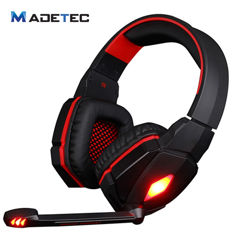 Madetec G4000 Gaming Headphone USB Bass Headband Headset With Mic Volume Control LED Light Headphone For PS4 PC Game VH06 2pcs each g1000 over ear game gaming headset earphone headband headphone with mic stereo bass led light for pc gamer
