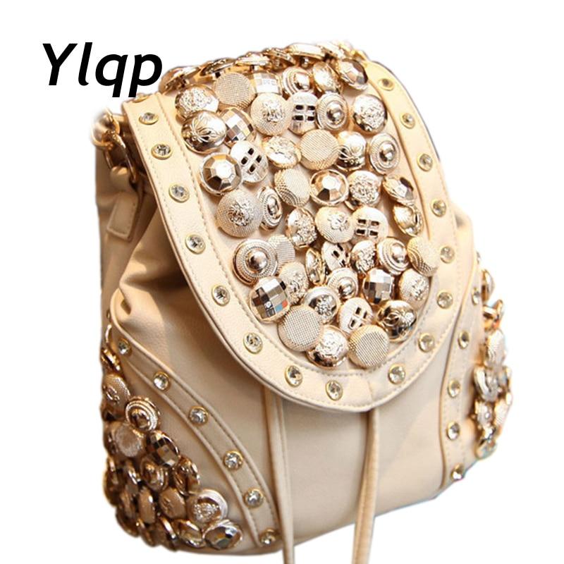 2019 Manual Wear Bead Button Cover Women Leather Backpack Fashion Female Shoulder Bags Women College Bags Mochila Feminina