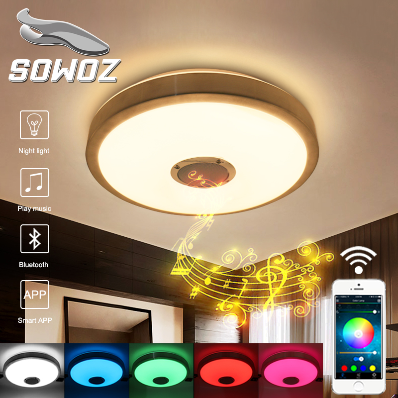 SOWOZ RGB Dimmable 23 W LED Luce di soffitto con Bluetooth e Musica 176-264 V lampada moderna del soffitto Led baby girls leggings kids pencil pants childrens printing flower toddler classic leggings girl skinny children trousers leggings