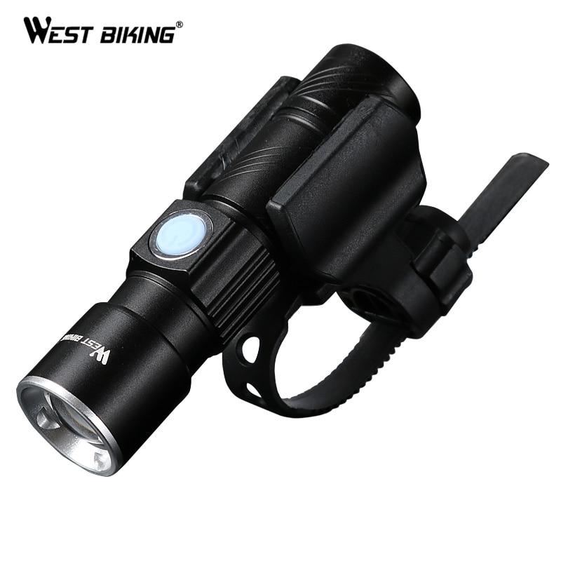 WEST ciclismo bicicleta luz Ultra-brillante elástico Zoom CREE Q5 200 m frente de la bicicleta linterna LED Lámpara USB recargable de Luz ciclismo