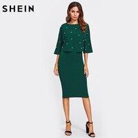 שיין פרל קשט אלגנטית שמלת סתיו נשים שתי חתיכת נדן ירוק חצי שרוול באורך הברך שמלות מוצקה