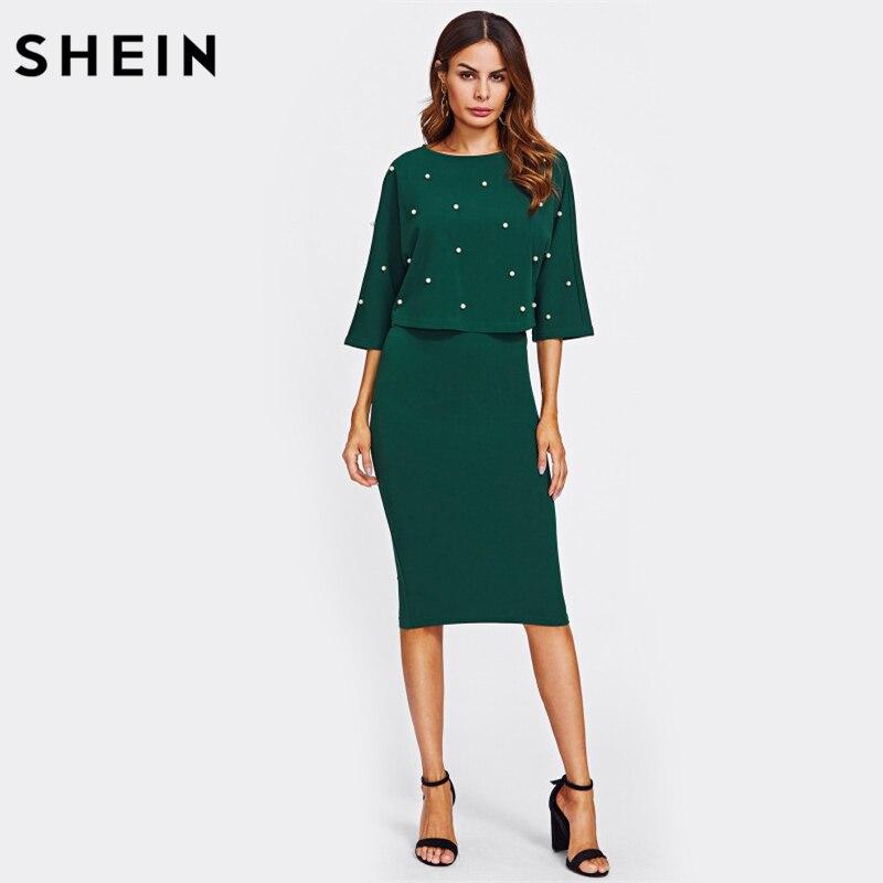 SHEIN Pearl Embellished Autumn Dress Elegant Womens Dresses Solid Green Half Sleeve Knee Length Sheath Two Piece
