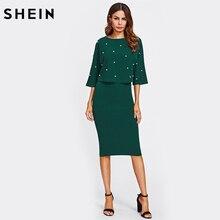 SHEIN Pearl Embellished Double Layer Dress Autumn Elegant Womens Dresses Green Half Sleeve Knee Length Sheath Dress