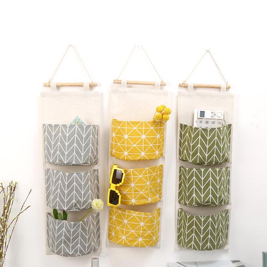 hot sale 3 pocket hanging bags cotton fabric sundry storage wall bathroom decoration pocket toy