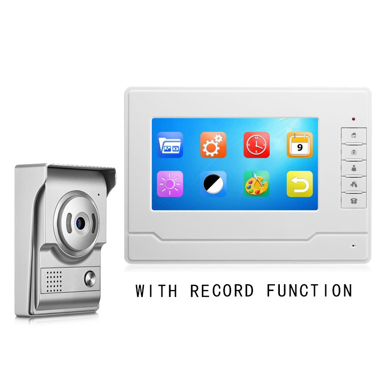 7''Inch Wired Video Door Phone Visual Video Door Intercom Doorbell Monitor Camera Kit For Home Security With Record Function