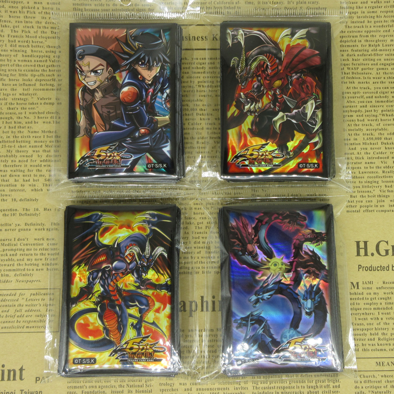 4packs Yu-Gi-Oh! 5D's Series Card Sleeves Yusei Crow Hogan Dark Synchro Moon Dragon Quilla Red Dragon Yugioh Holo Protectors