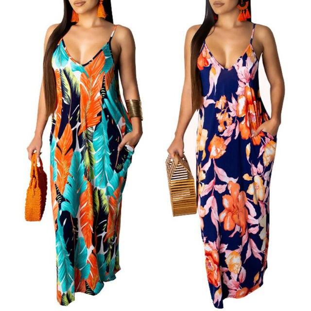 2019 Newest Hot Women's Summer Boho Floral Long Maxi Evening Party Beach Dress Floral Sleeveless V Neck Sundress 5