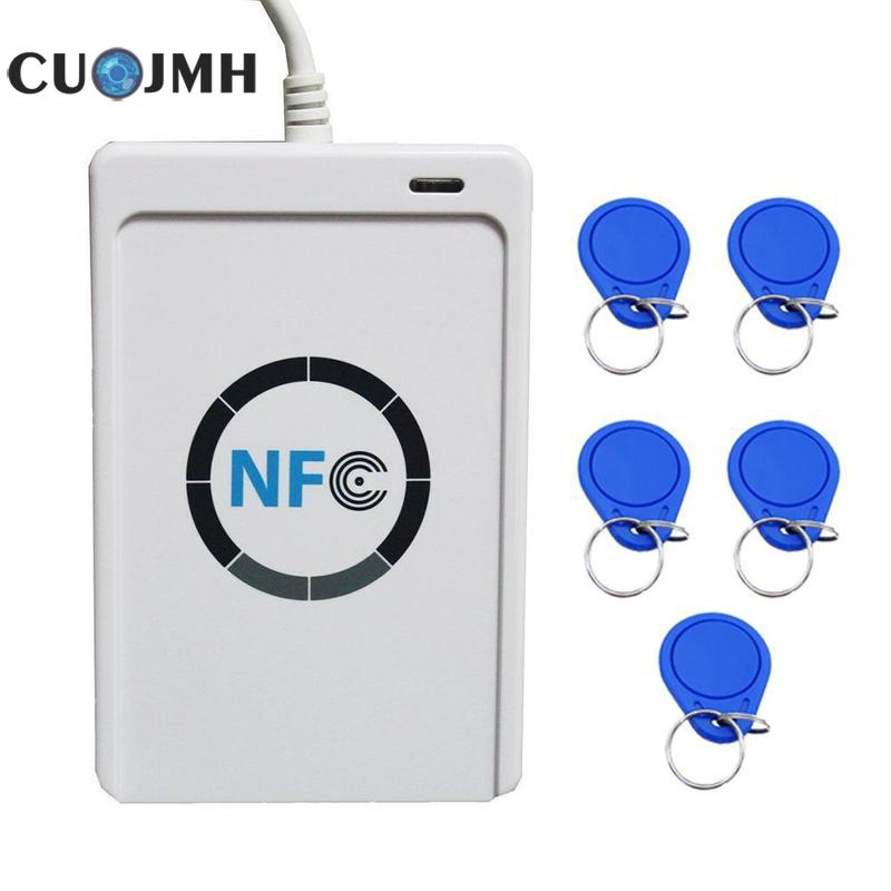 1 Set Card Reader Original Ic-nfc+5 Button Usb Nfc Rfid Smart Card Reader Writer 424 Kbps Read Speed Access Control Card Reader цены онлайн
