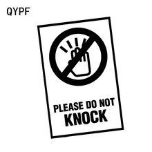 Qypf 10 cm * 13.9 cm por favor não bater aviso marca etiqueta do carro preto/prata vinil decoração gráfico S9-2274