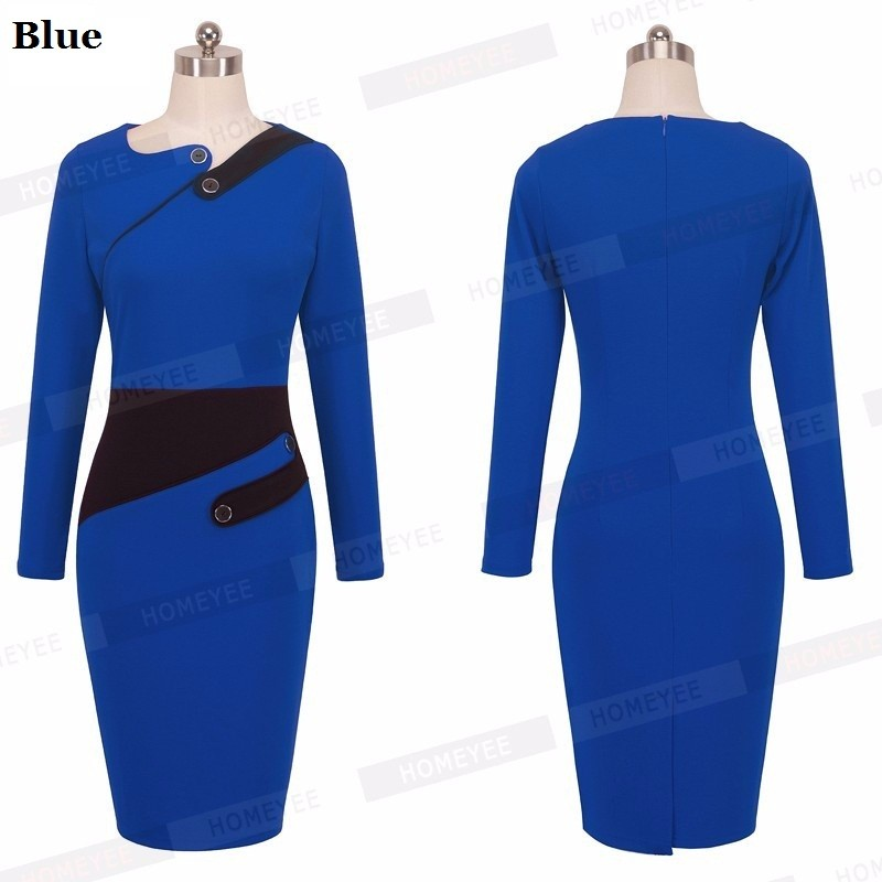 Black Dress Tunic Women Formal Work Office Sheath Patchwork Line Asymmetrical Neck Knee Length Plus Size Pencil Dress B63 B231 29