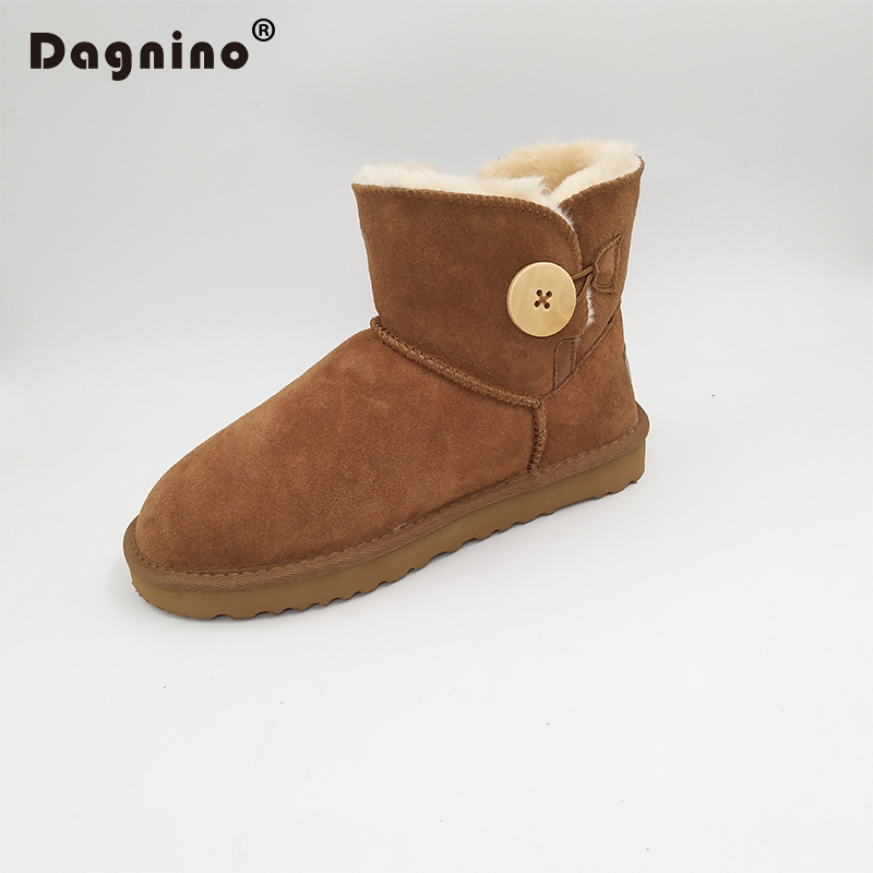 DAGNINO New Original Brand High Quality Australia Women Snow Boots Classic Button Genuine Leather Winter Warm Plush Woman Shoes