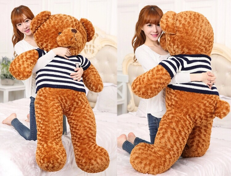 huge 120cm brown teddy bear plush toy blue stripes sweater bear doll, hugging pillow, toy gift w3069 one piece huge plush simulation black killer whale toy new whale pillow doll gift about 120cm