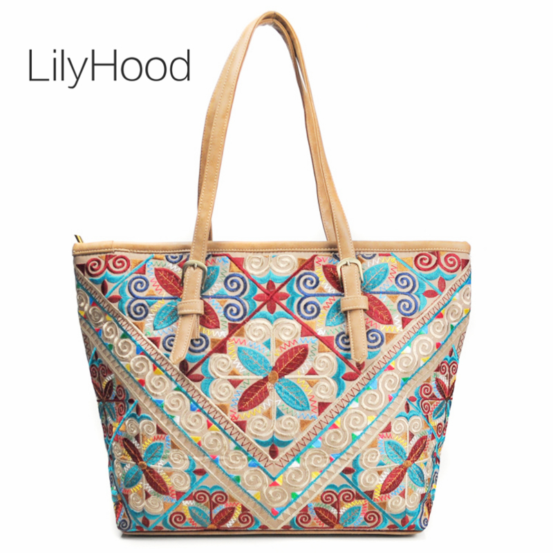 LilyHood Female Large Tote Bags PU Leather Ibiza Boho Tribal Style  Big Overnight Top-handle Over Shoulder Bag Dropshipping tote bag