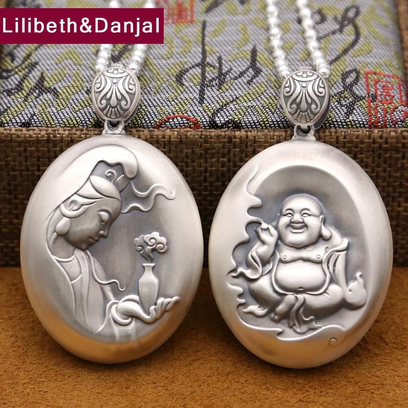 Buddha Couple Pendant 999 Sterling silver Ethnic Buddhist Heart Sutra Necklace Pendant Men Gift Fine Jewelry P19