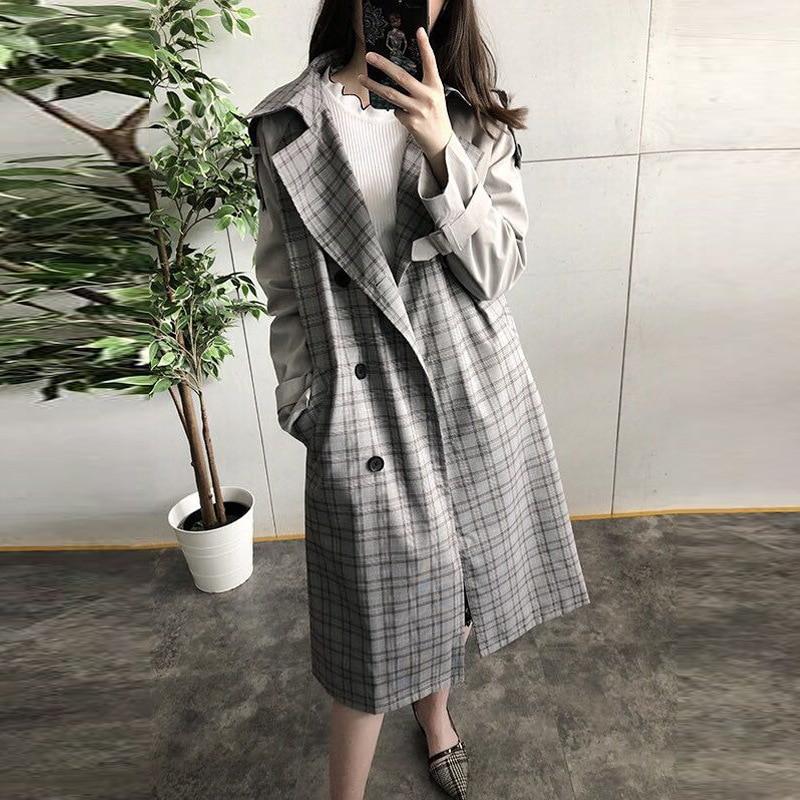 Breasted Tranchée Plaid Double Longue Designer 2018 Gris Taille Élégant Plus Vintage Bureau Sash Outwear Coréenne Femmes Manteau SxIgwHqEd