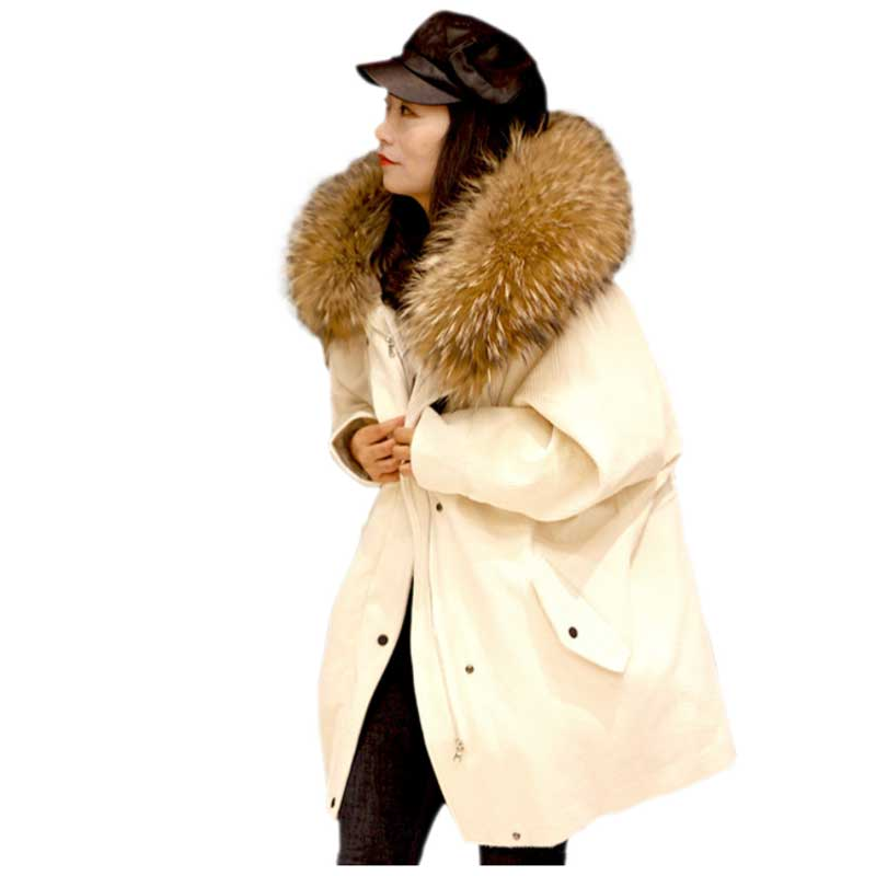2017 Winter Jacket Coat Women Parka Corduroy Fur Coat Big Real Raccoon Fur Collar Real Natural Warm Lamb Fur Liner Top Quality 2017 winter new clothes to overcome the coat of women in the long reed rabbit hair fur fur coat fox raccoon fur collar