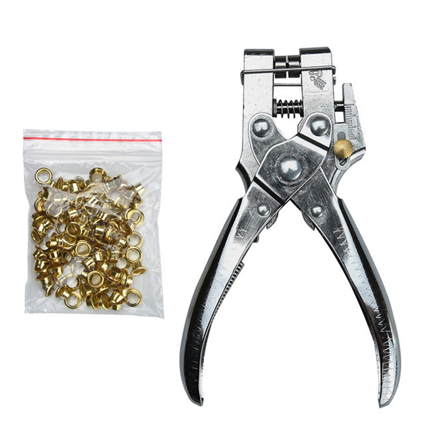 Heavy Duty Leather Fabric Eyelet Plier Hole Punch Pliers Tools + 100 Eyelets