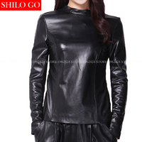 Plus size new fashion winter women high quality Sheep collar mandarin collar back lace sexy long sleeves Slim Genuine Leather