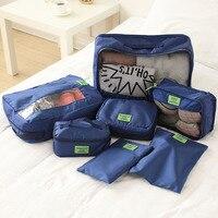 7ピース/セット女性旅行収納袋高容量荷物服整頓主催ポーチスーツケースポータブル防水収納ケー