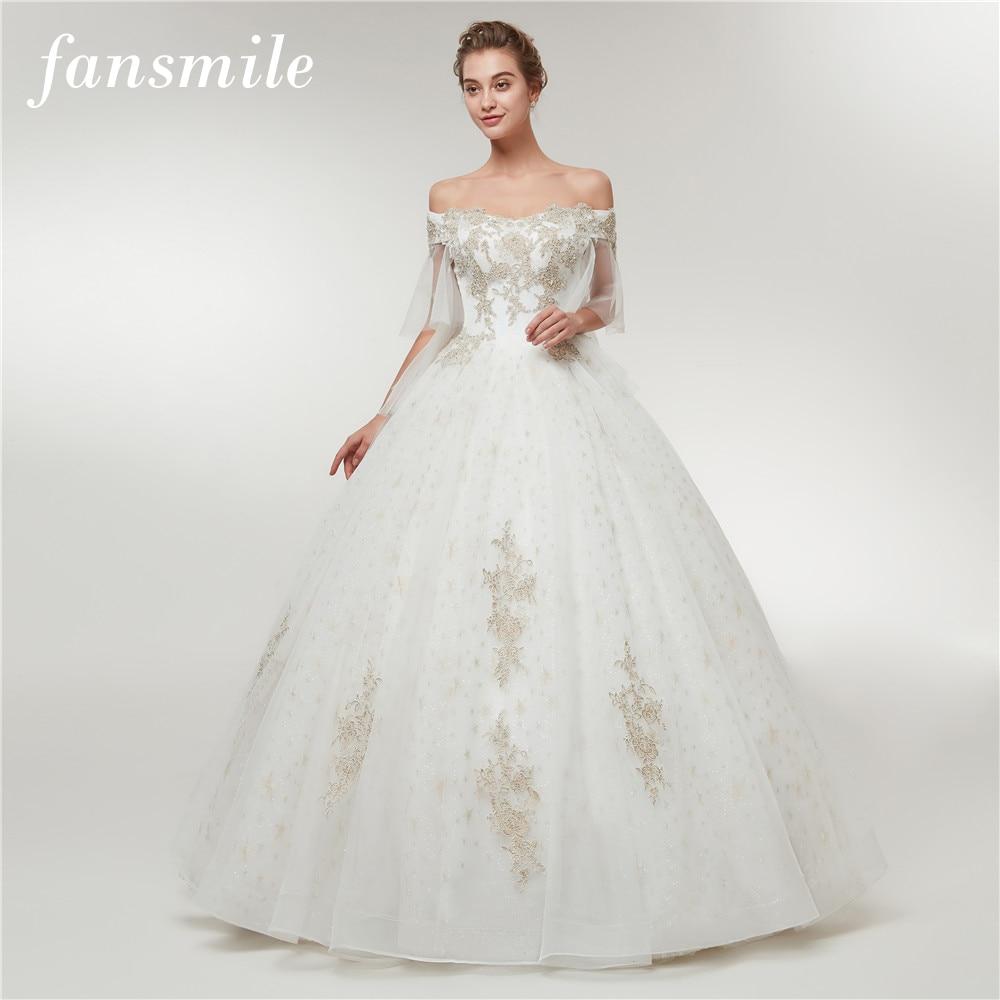 Fansmile New Floral Print Vestido De Noiva Simple Lace