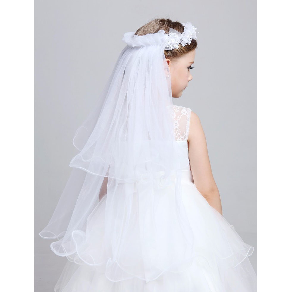 Girls' First Communion Veils Accessories Elasticity For Wedding Flower Pearl Lace Garland Veils Headbands Girls Children Party fashion bridal veils party wedding hair accessories flower girls bridesmaid hair band floral lace veil headdress free shipping