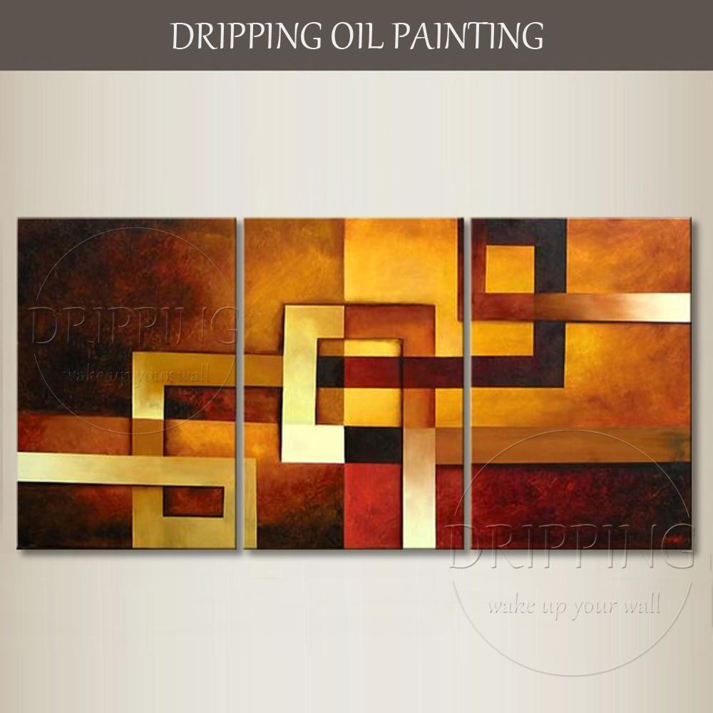 Top Künstler Hand bemalt Hochwertige Abstrakte Wandkunst Malerei 3 Stücke Ölgemälde Handgefertigte Abstrakte Geometrie Ölgemälde