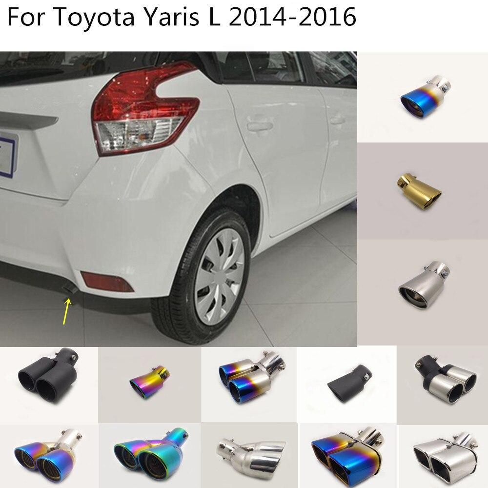 سيارة الجسم التصميم غطاء غطاء من الفولاذ المقاوم للصدأ الأنابيب منفذ تكريس العادم تلميح الذيل 1 قطع لتويوتا ياريس L 2014 2015 2016