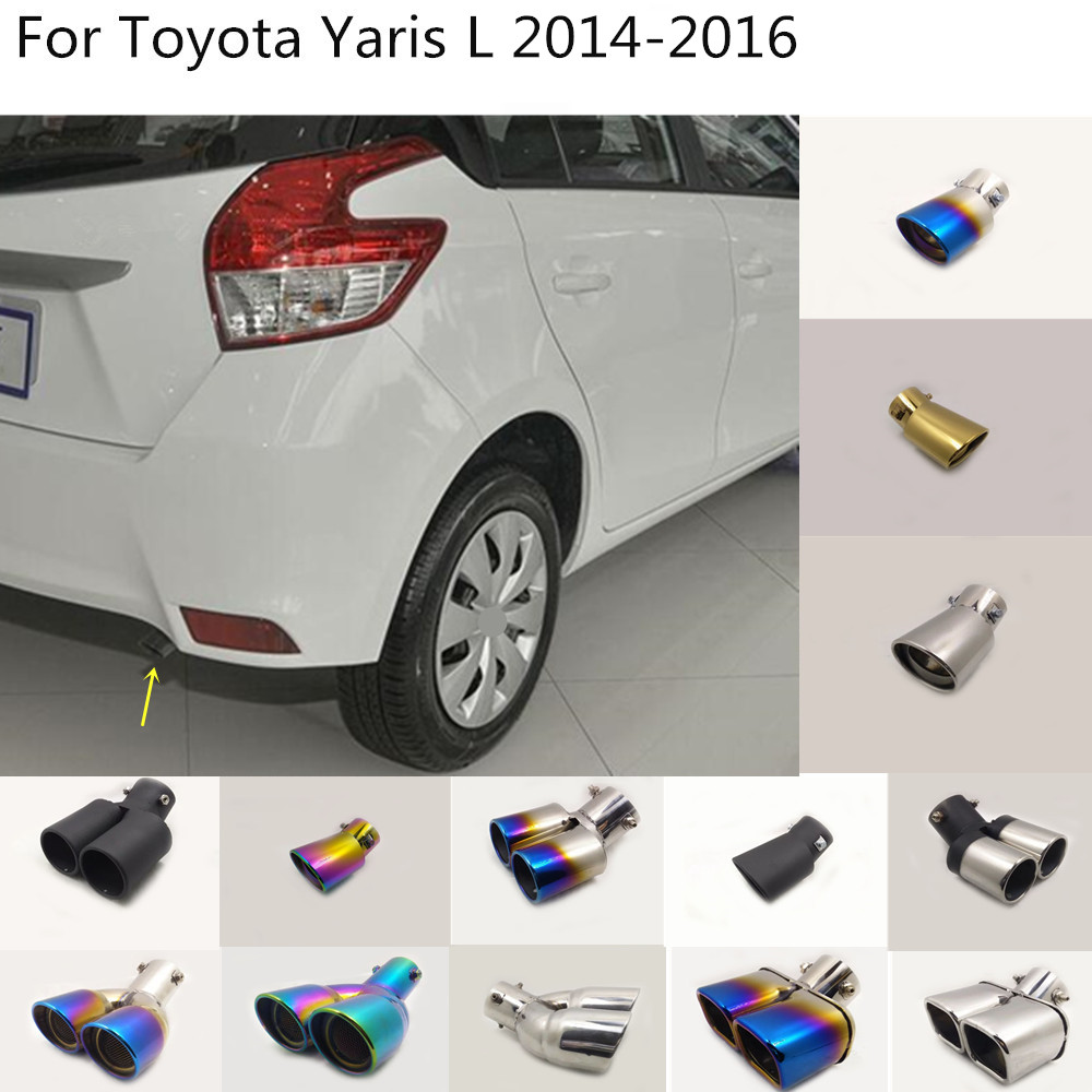 Auto body styling abdeckung edelstahl schalldämpfer rohr outlet widmen auspuff tip tail 1 stücke Für Toyota Yaris L 2014 2015 2016