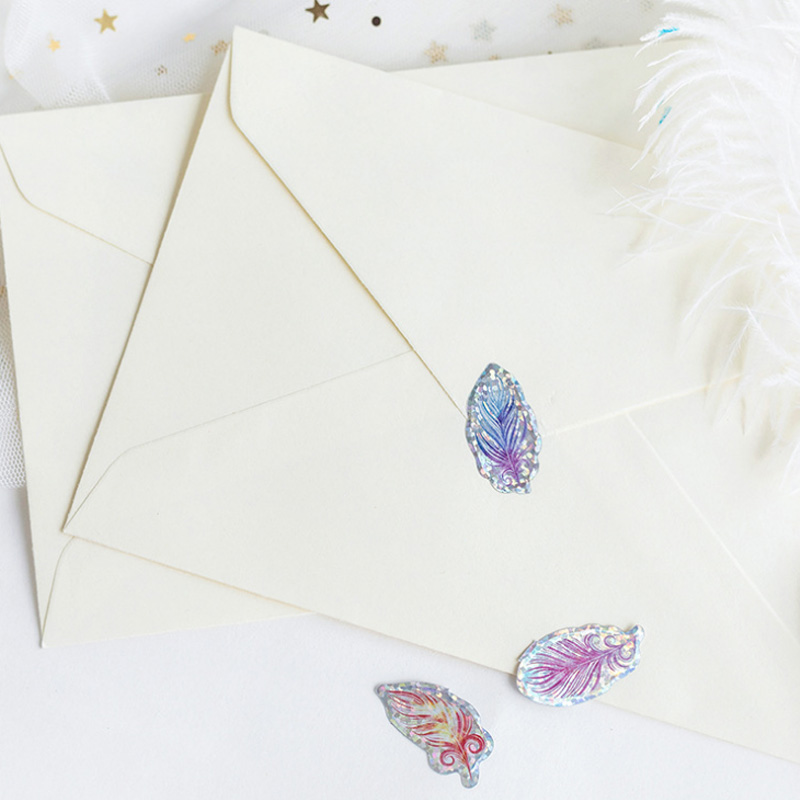 100pcs pack feather Organza Bag Decorative Sticker Adhesive Stickers IY album diary scrapbooking label sticker kawaii stationery in Stationery Stickers from Office School Supplies