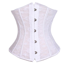 ccb39a6f25 White Black Underbust Corset Bodysuit Lace Cincher Bustier Sexy Women Style  Shaper Trainer Slimming Sizes Corselet
