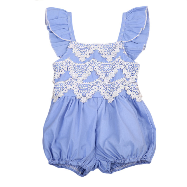 ac3320b2fda1 Sweet Infant Baby Girls Denim Lace Romper Jumpsuit Outfits Clothes Newborn  Toddler Girl Lace Sleeveless Rompers Sunsuits 0-2T